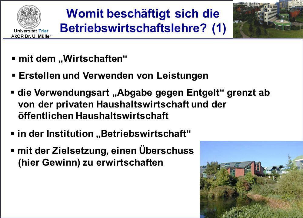 """2005-8 Universität Trier AkOR Dr. U. Müller Womit beschäftigt sich die Betriebswirtschaftslehre? (1)  mit dem """"Wirtschaften""""  Erstellen und Verwende"""