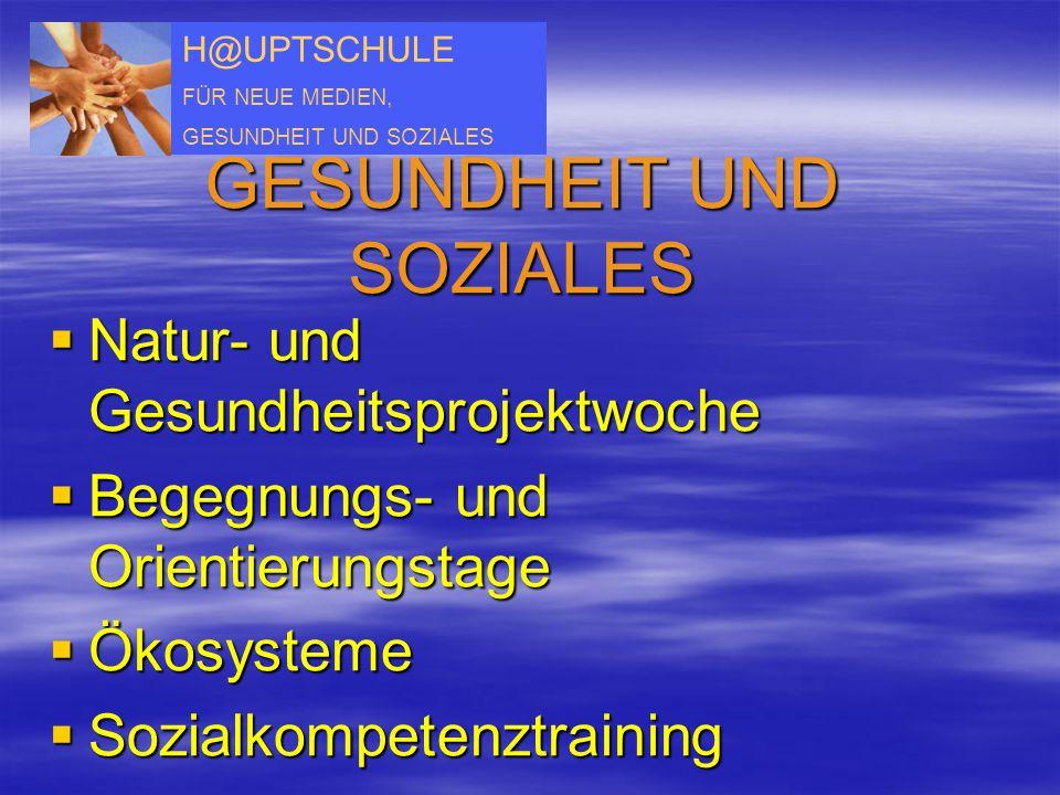 H@UPTSCHULE FÜR NEUE MEDIEN, GESUNDHEIT UND SOZIALES  Natur- und Gesundheitsprojektwoche  Begegnungs- und Orientierungstage  Ökosysteme  Sozialkom