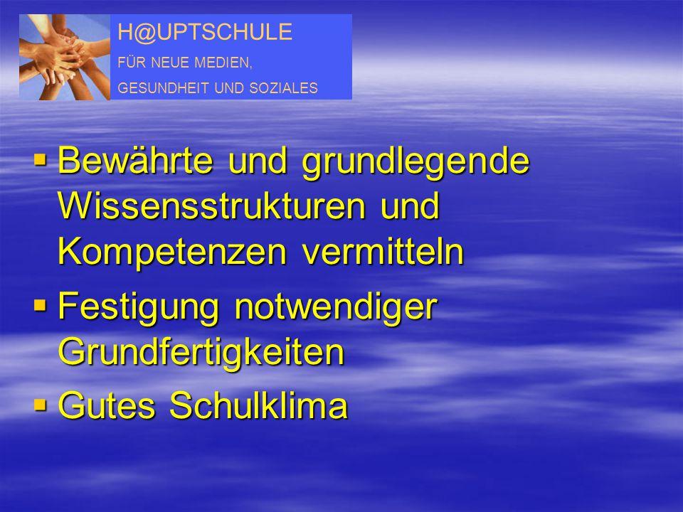 H@UPTSCHULE FÜR NEUE MEDIEN, GESUNDHEIT UND SOZIALES  Bewährte und grundlegende Wissensstrukturen und Kompetenzen vermitteln  Festigung notwendiger