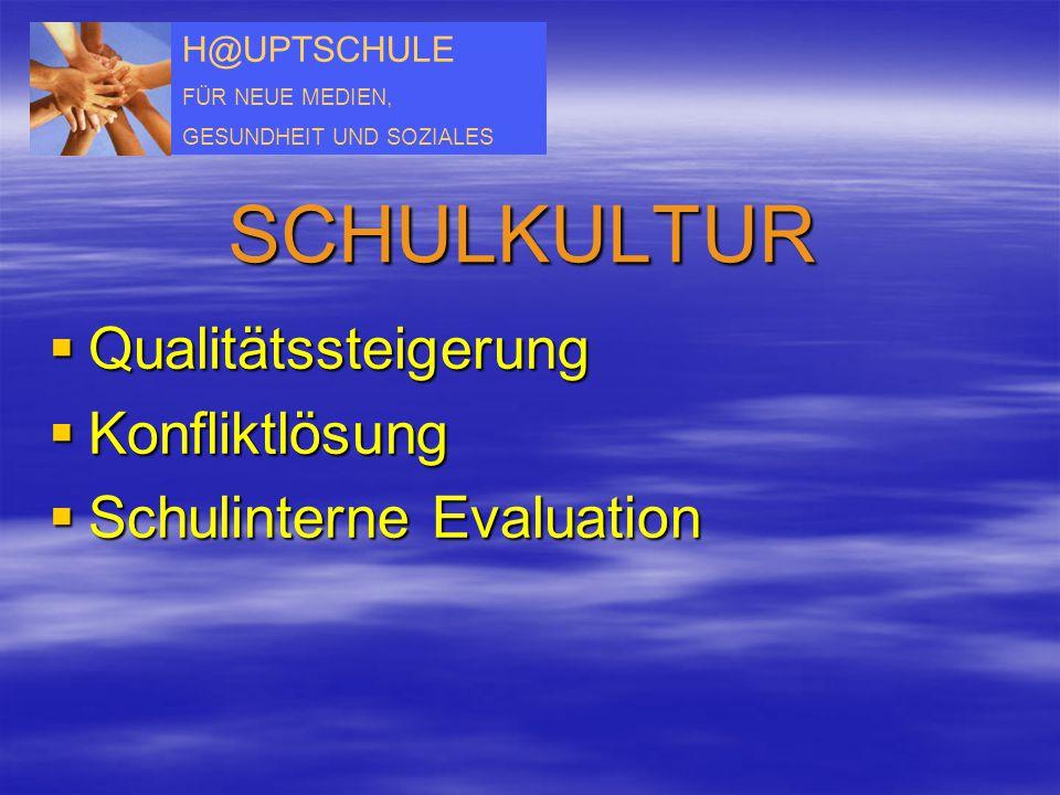 H@UPTSCHULE FÜR NEUE MEDIEN, GESUNDHEIT UND SOZIALES SCHULKULTUR  Qualitätssteigerung  Konfliktlösung  Schulinterne Evaluation