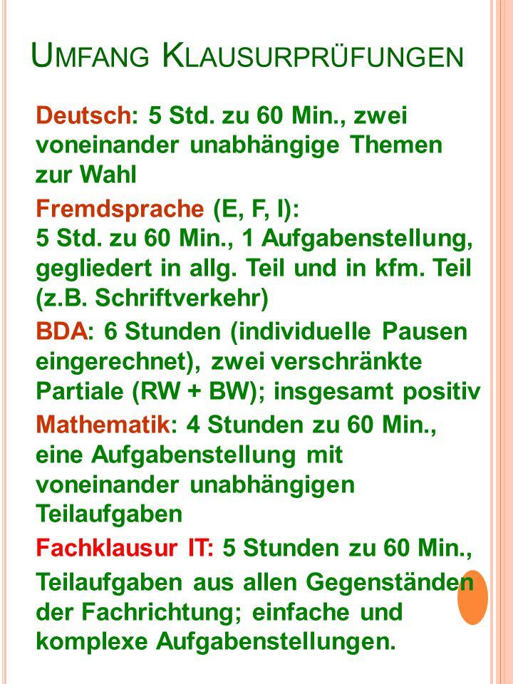 U MFANG K LAUSURPRÜFUNGEN Deutsch: 5 Std. zu 60 Min., zwei voneinander unabhängige Themen zur Wahl Fremdsprache (E, F, I): 5 Std. zu 60 Min., 1 Aufgab