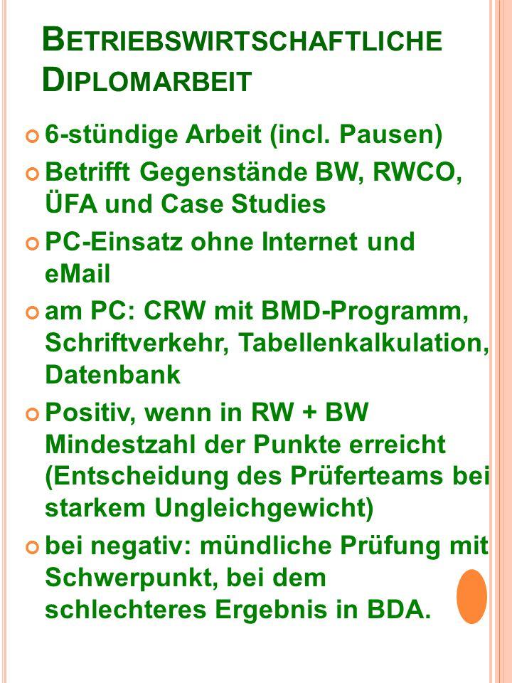 B ETRIEBSWIRTSCHAFTLICHE D IPLOMARBEIT 6-stündige Arbeit (incl.