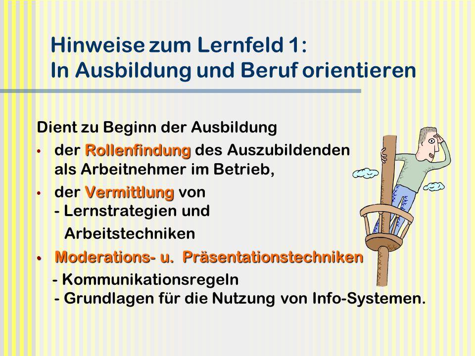 Hinweise zum Lernfeld 1: In Ausbildung und Beruf orientieren Dient zu Beginn der Ausbildung Rollenfindung der Rollenfindung des Auszubildenden als Arb