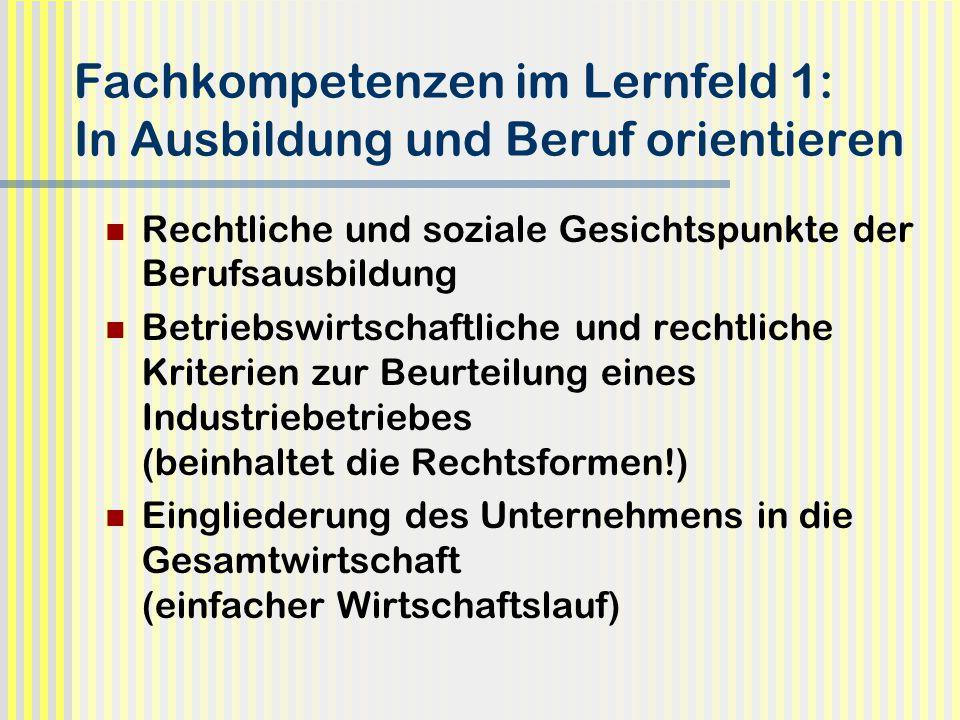 Fachkompetenzen im Lernfeld 1: In Ausbildung und Beruf orientieren Rechtliche und soziale Gesichtspunkte der Berufsausbildung Betriebswirtschaftliche