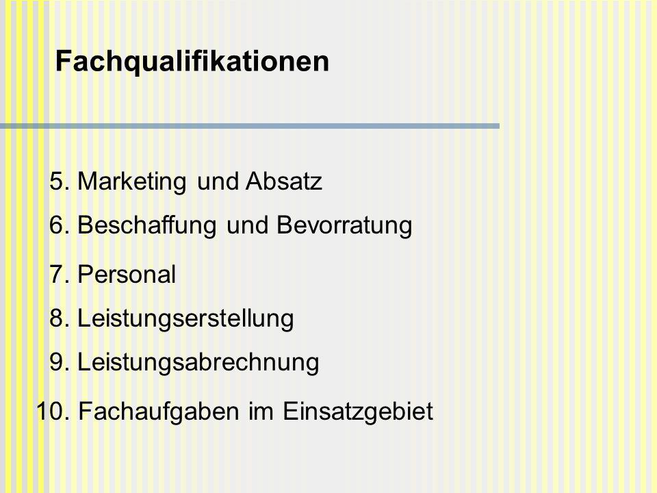 5. Marketing und Absatz 6. Beschaffung und Bevorratung 7. Personal 8. Leistungserstellung 9. Leistungsabrechnung 10. Fachaufgaben im Einsatzgebiet Fac