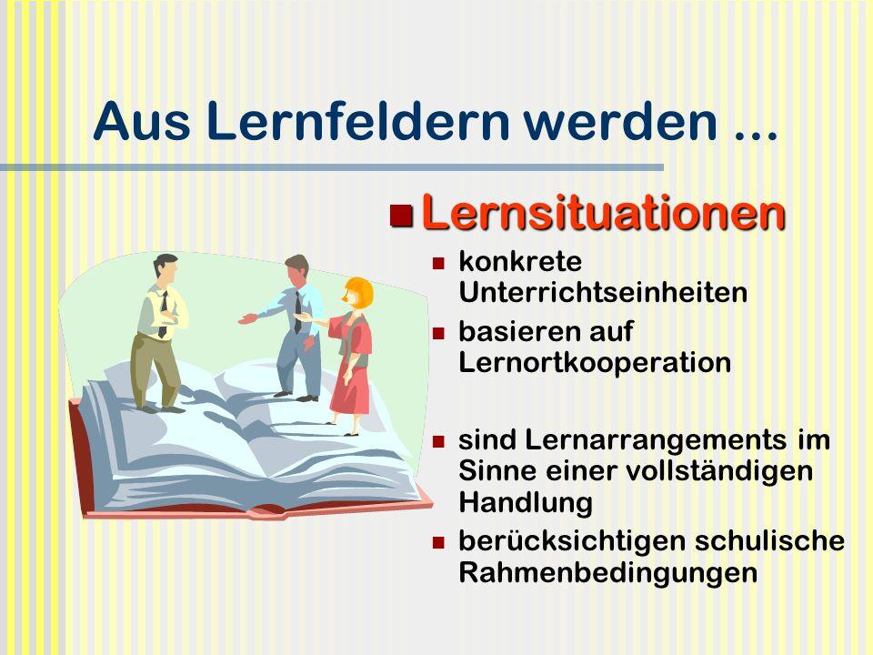 Aus Lernfeldern werden... Lernsituationen Lernsituationen konkrete Unterrichtseinheiten basieren auf Lernortkooperation sind Lernarrangements im Sinne