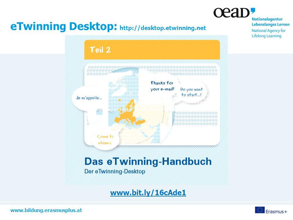 www.bildung.erasmusplus.at TwinSpace: der virtuelle Klassenraum http://files.eun.org/etwinning/Welcome%20to%2 0the%20new%20TwinSpace_DE.pdf http://bit.ly/1AN7xGe