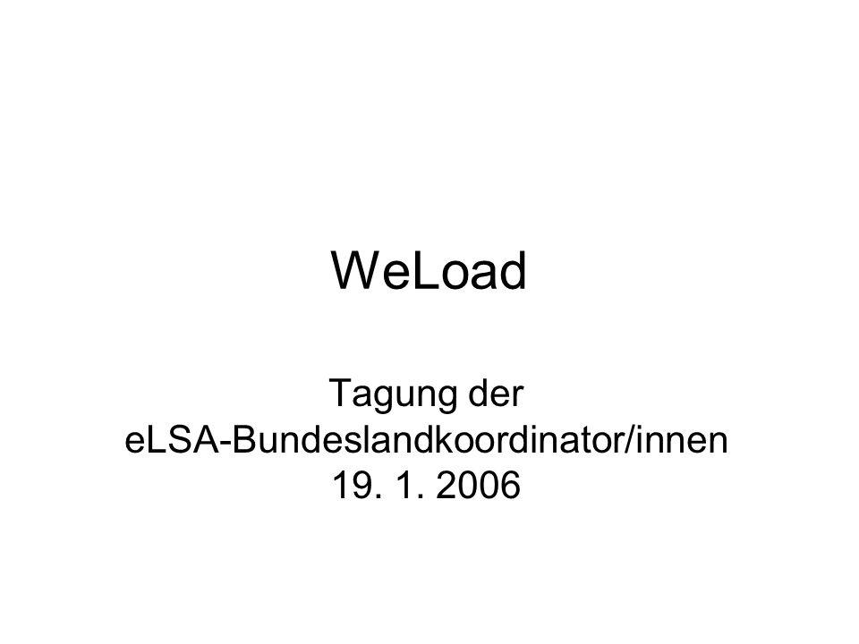 WeLoad Tagung der eLSA-Bundeslandkoordinator/innen 19. 1. 2006