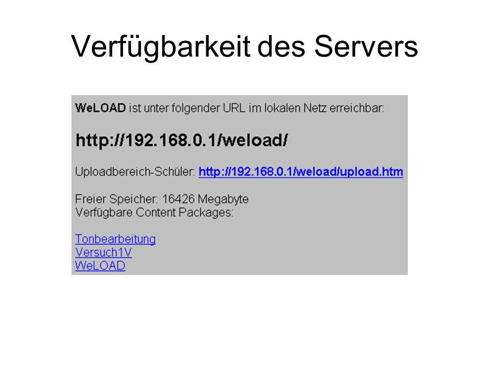 Verfügbarkeit des Servers