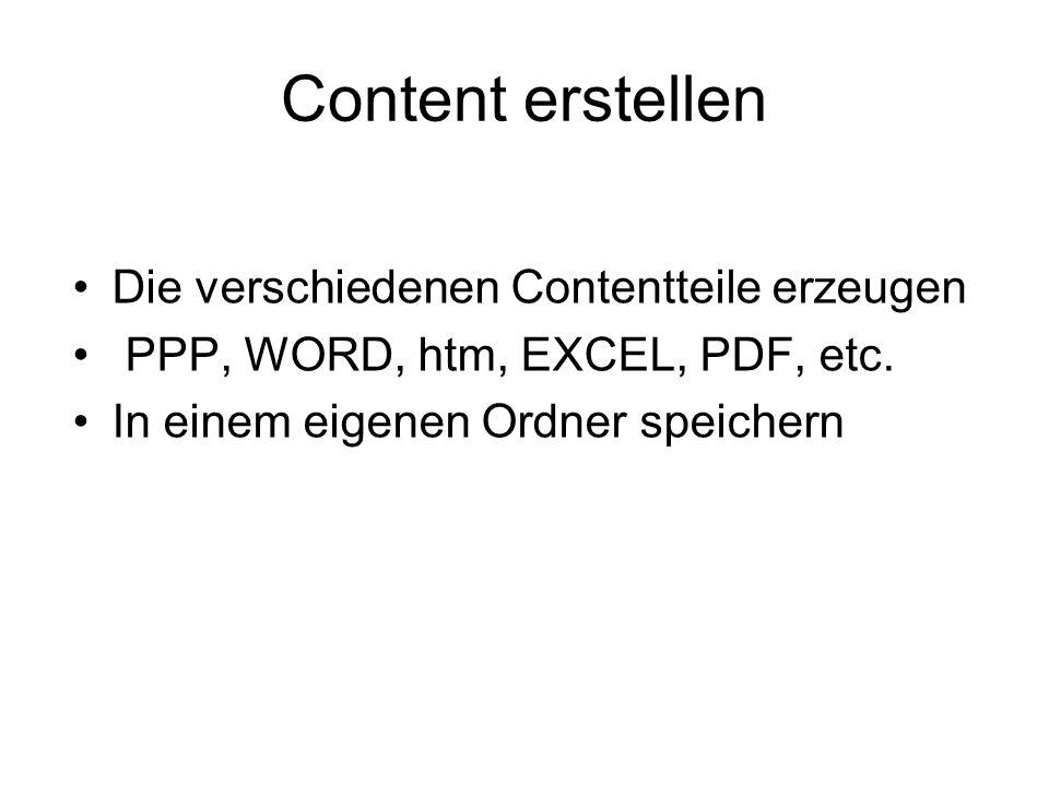 Content erstellen Die verschiedenen Contentteile erzeugen PPP, WORD, htm, EXCEL, PDF, etc. In einem eigenen Ordner speichern