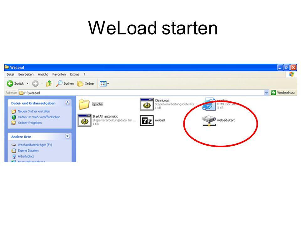 WeLoad Start In der Taskleiste sichtbar, sonst passiert am Bildschirm nichts!