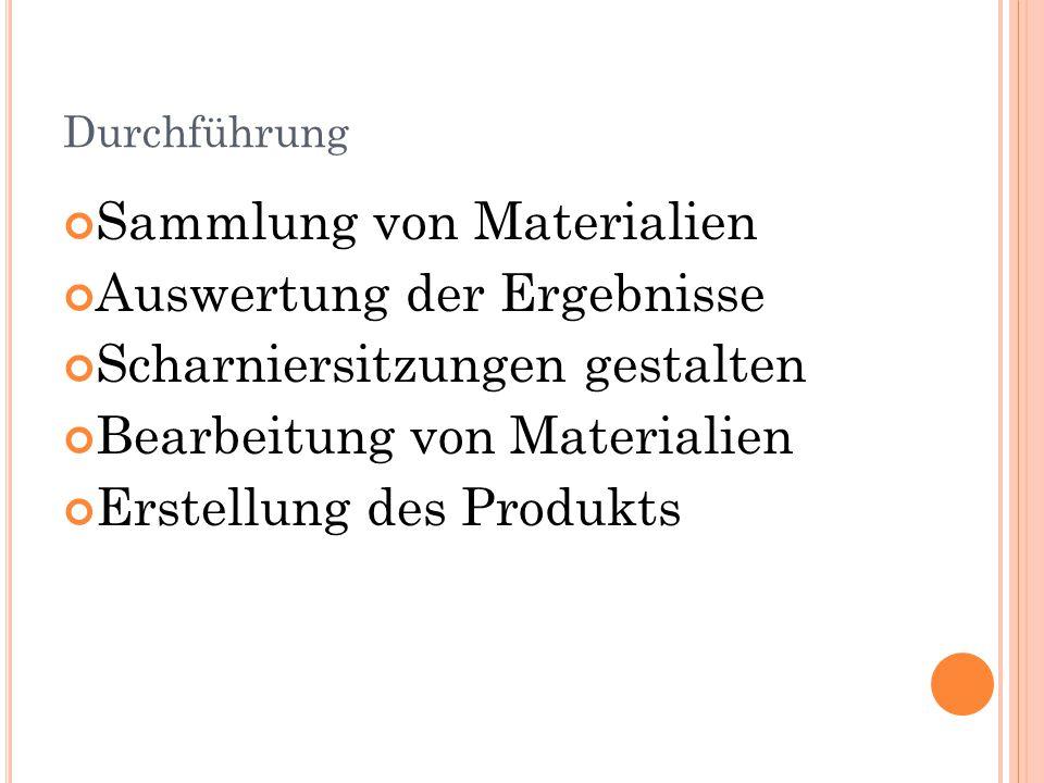 Durchführung Sammlung von Materialien Auswertung der Ergebnisse Scharniersitzungen gestalten Bearbeitung von Materialien Erstellung des Produkts