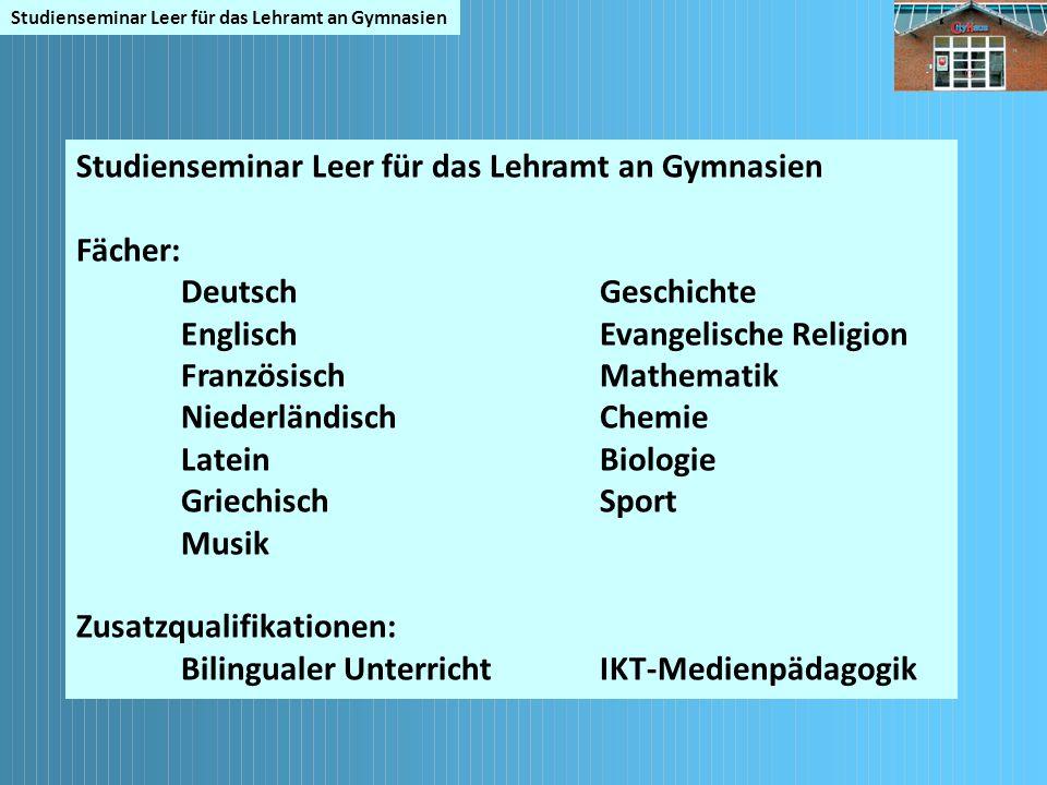 Fächer: Deutsch Geschichte EnglischEvangelische Religion FranzösischMathematik NiederländischChemie LateinBiologie GriechischSport Musik Zusatzqualifi