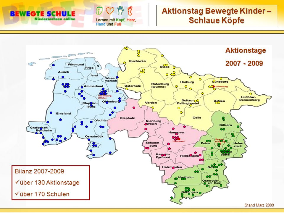 Aktionstag Bewegte Kinder – Schlaue Köpfe Aktionstage 2007 - 2009 Bilanz 2007-2009 über 130 Aktionstage über 130 Aktionstage über 170 Schulen über 170 Schulen Stand März 2009