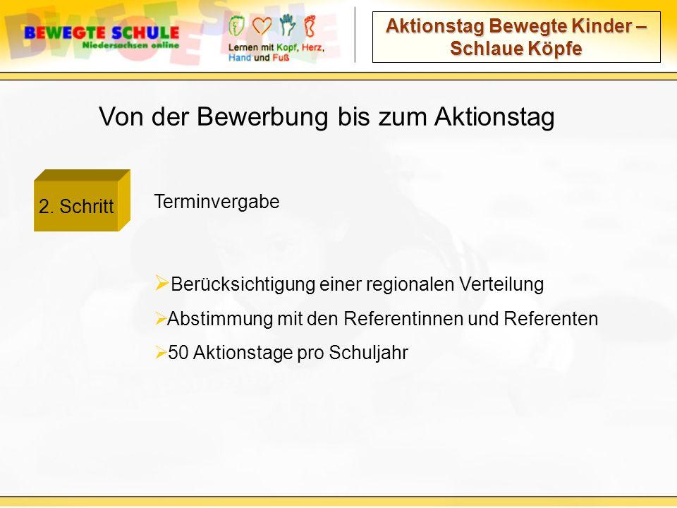 Aktionstag Bewegte Kinder – Schlaue Köpfe Von der Bewerbung bis zum Aktionstag Terminvergabe 2.