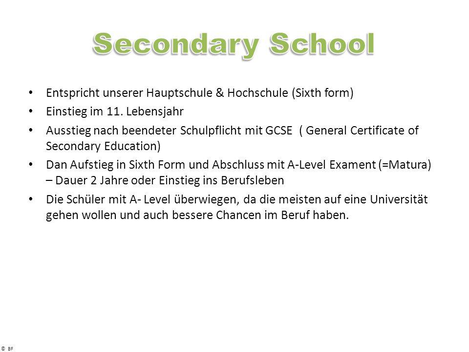 © BF Entspricht unserer Hauptschule & Hochschule (Sixth form) Einstieg im 11.