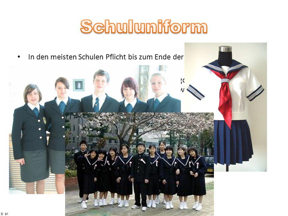 © BF In den meisten Schulen Pflicht bis zum Ende der Schulpflicht Sixth Form meist kene Uniformpflicht Besteht aus Blazer oder Sweatshirt mit Schullogo, Hemd mit Krawatte, Polo oder T-Shirt, dunkle Hose bzw.