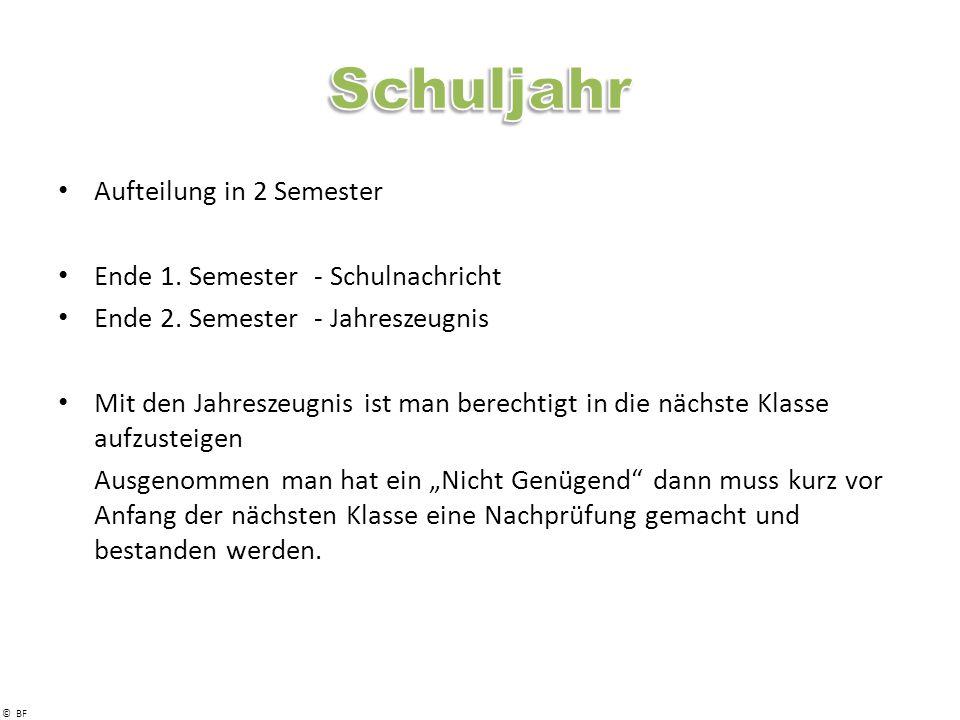 © BF Aufteilung in 2 Semester Ende 1.Semester - Schulnachricht Ende 2.