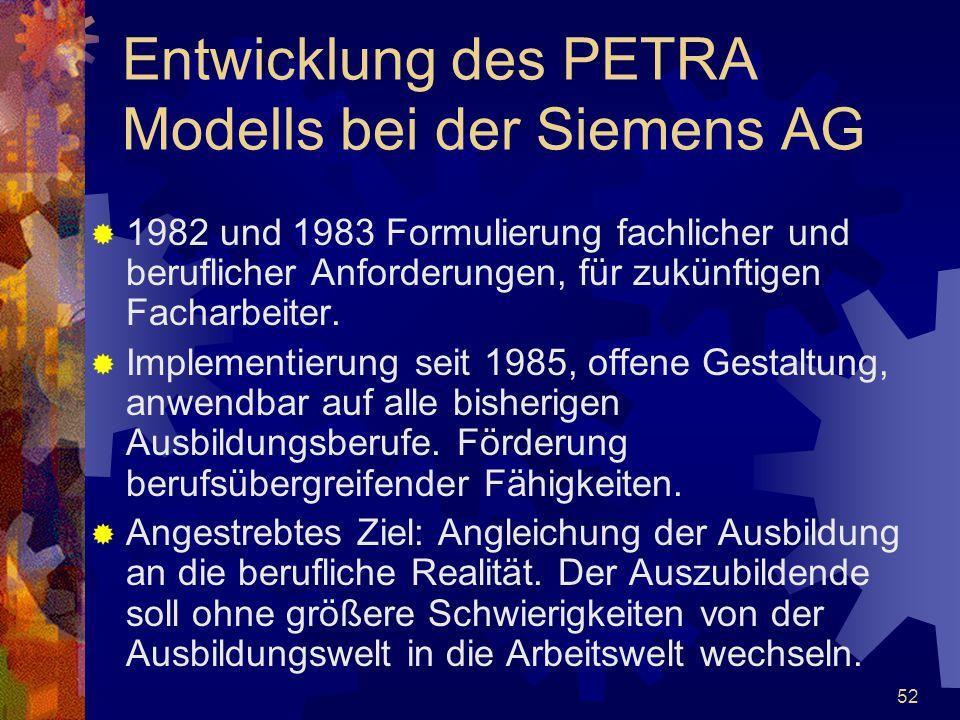52  1982 und 1983 Formulierung fachlicher und beruflicher Anforderungen, für zukünftigen Facharbeiter.  Implementierung seit 1985, offene Gestaltung