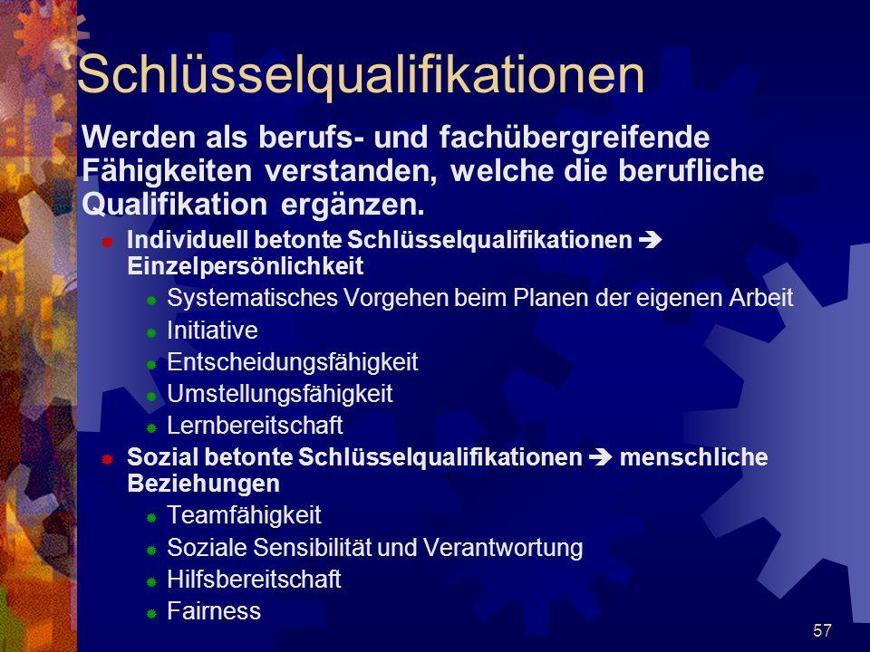 57 Schlüsselqualifikationen Werden als berufs- und fachübergreifende Fähigkeiten verstanden, welche die berufliche Qualifikation ergänzen.  Individue