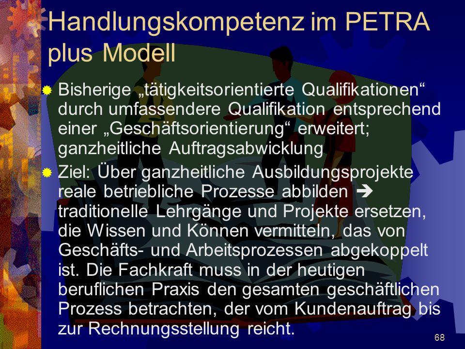 """68 Handlungskompetenz im PETRA plus Modell  Bisherige """"tätigkeitsorientierte Qualifikationen"""" durch umfassendere Qualifikation entsprechend einer """"Ge"""