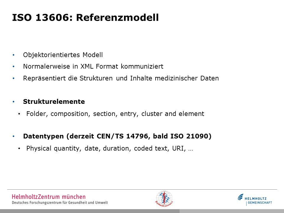 ISO 13606: Referenzmodell Objektorientiertes Modell Normalerweise in XML Format kommuniziert Repräsentiert die Strukturen und Inhalte medizinischer Daten Strukturelemente Folder, composition, section, entry, cluster and element Datentypen (derzeit CEN/TS 14796, bald ISO 21090) Physical quantity, date, duration, coded text, URI, …