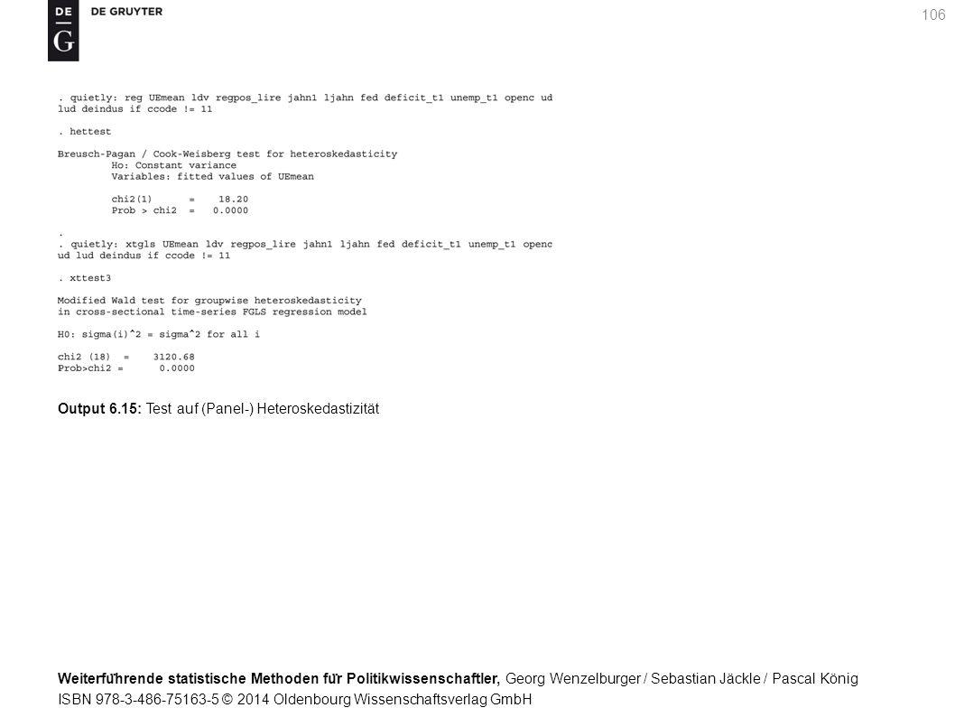 Weiterfu ̈ hrende statistische Methoden fu ̈ r Politikwissenschaftler, Georg Wenzelburger / Sebastian Jäckle / Pascal König ISBN 978-3-486-75163-5 © 2014 Oldenbourg Wissenschaftsverlag GmbH 106 Output 6.15: Test auf (Panel-) Heteroskedastizität