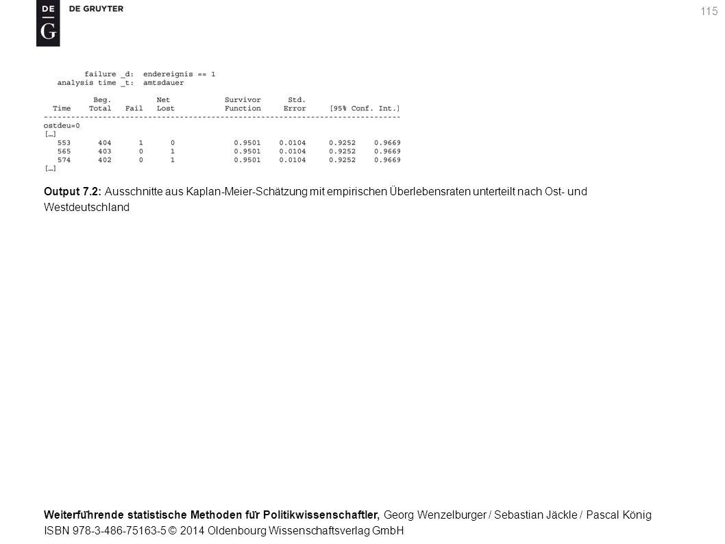 Weiterfu ̈ hrende statistische Methoden fu ̈ r Politikwissenschaftler, Georg Wenzelburger / Sebastian Jäckle / Pascal König ISBN 978-3-486-75163-5 © 2014 Oldenbourg Wissenschaftsverlag GmbH 115 Output 7.2: Ausschnitte aus Kaplan-Meier-Schätzung mit empirischen Überlebensraten unterteilt nach Ost- und Westdeutschland