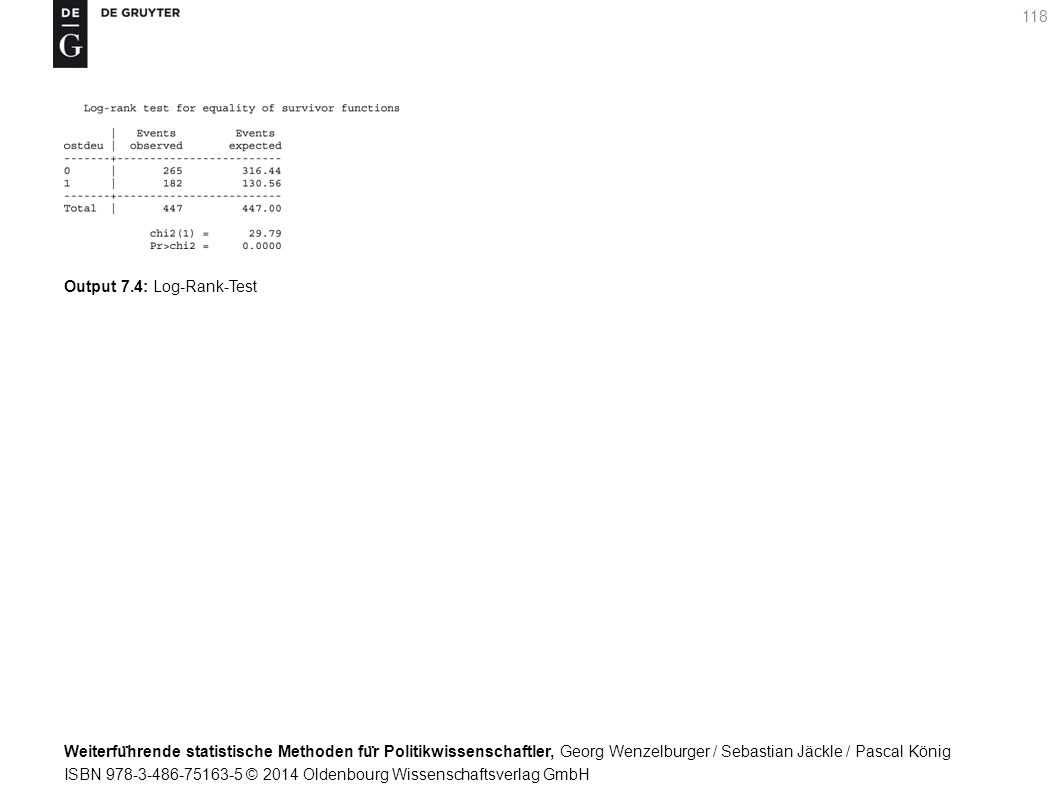 Weiterfu ̈ hrende statistische Methoden fu ̈ r Politikwissenschaftler, Georg Wenzelburger / Sebastian Jäckle / Pascal König ISBN 978-3-486-75163-5 © 2014 Oldenbourg Wissenschaftsverlag GmbH 118 Output 7.4: Log-Rank-Test