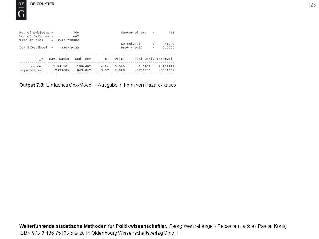 Weiterfu ̈ hrende statistische Methoden fu ̈ r Politikwissenschaftler, Georg Wenzelburger / Sebastian Jäckle / Pascal König ISBN 978-3-486-75163-5 © 2014 Oldenbourg Wissenschaftsverlag GmbH 126 Output 7.8: Einfaches Cox-Modell – Ausgabe in Form von Hazard-Ratios