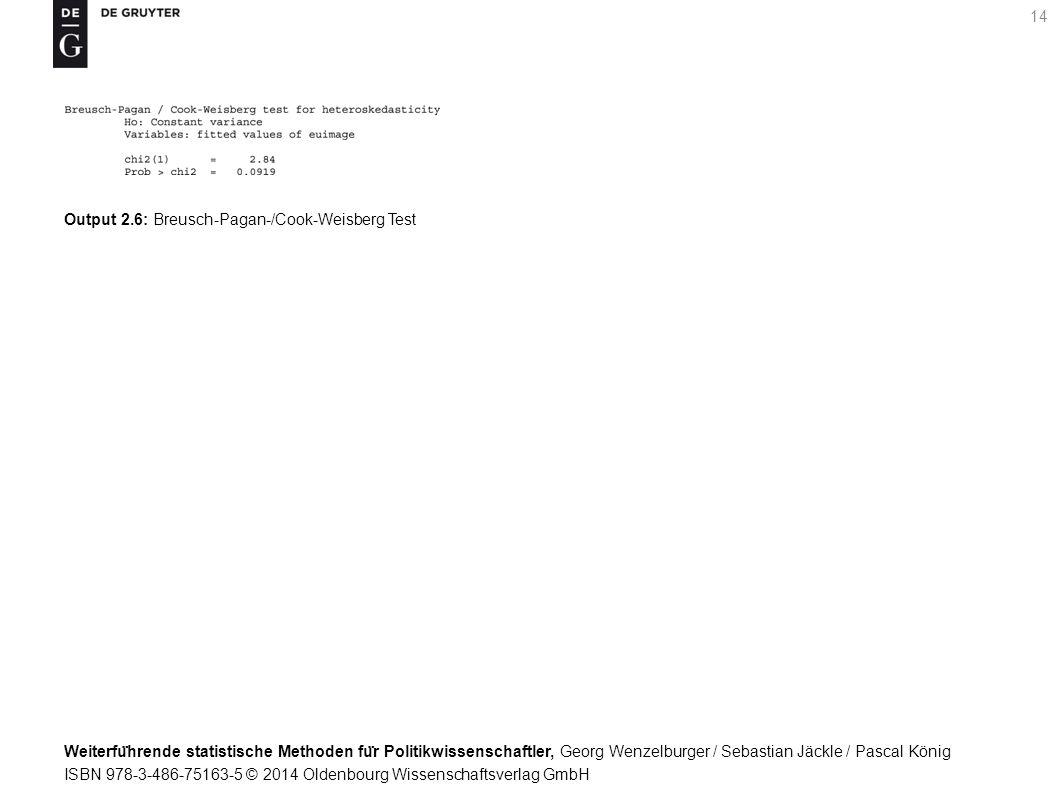 Weiterfu ̈ hrende statistische Methoden fu ̈ r Politikwissenschaftler, Georg Wenzelburger / Sebastian Jäckle / Pascal König ISBN 978-3-486-75163-5 © 2014 Oldenbourg Wissenschaftsverlag GmbH 14 Output 2.6: Breusch-Pagan-/Cook-Weisberg Test