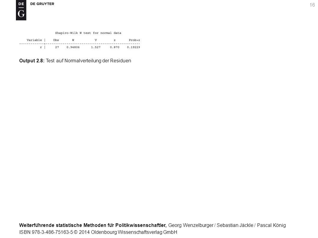 Weiterfu ̈ hrende statistische Methoden fu ̈ r Politikwissenschaftler, Georg Wenzelburger / Sebastian Jäckle / Pascal König ISBN 978-3-486-75163-5 © 2014 Oldenbourg Wissenschaftsverlag GmbH 16 Output 2.8: Test auf Normalverteilung der Residuen