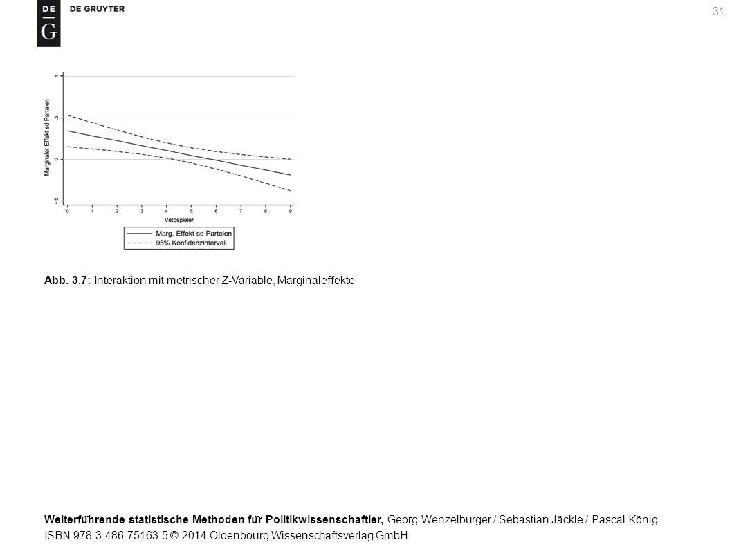 Weiterfu ̈ hrende statistische Methoden fu ̈ r Politikwissenschaftler, Georg Wenzelburger / Sebastian Jäckle / Pascal König ISBN 978-3-486-75163-5 © 2014 Oldenbourg Wissenschaftsverlag GmbH 31 Abb.
