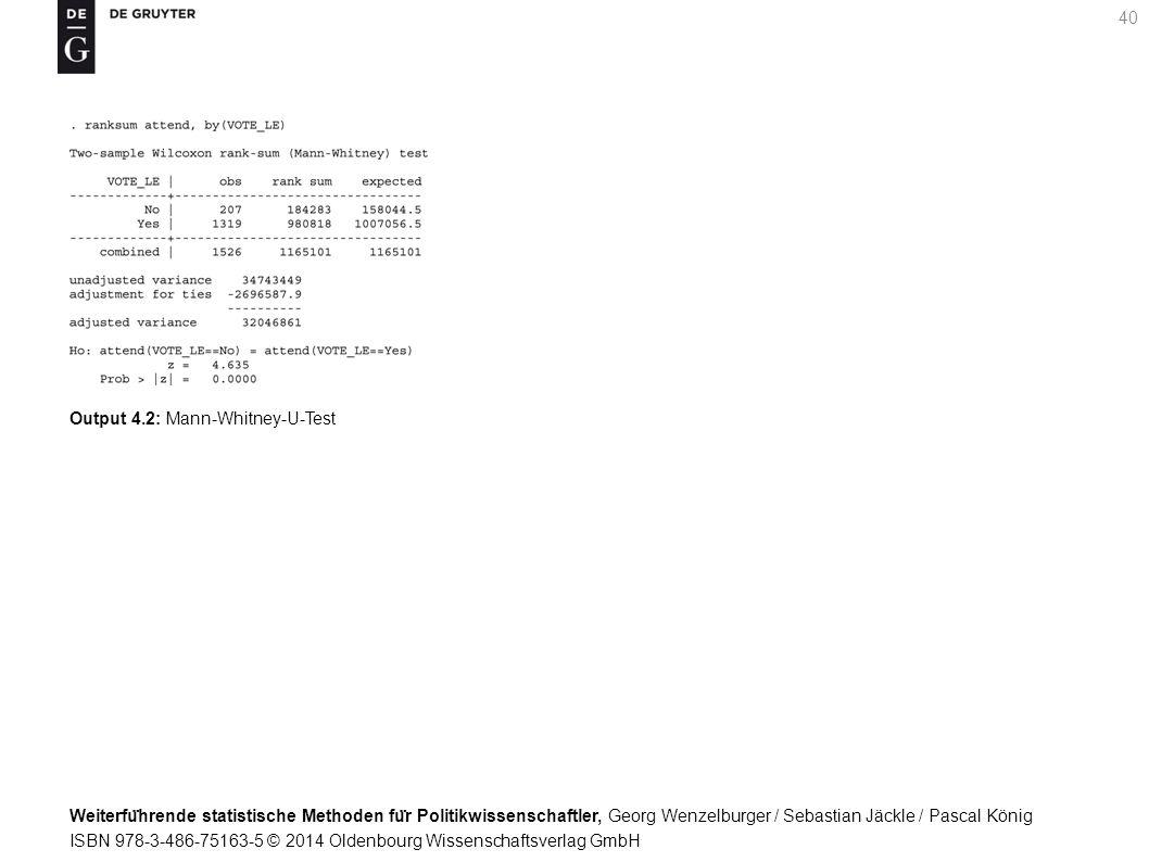 Weiterfu ̈ hrende statistische Methoden fu ̈ r Politikwissenschaftler, Georg Wenzelburger / Sebastian Jäckle / Pascal König ISBN 978-3-486-75163-5 © 2014 Oldenbourg Wissenschaftsverlag GmbH 40 Output 4.2: Mann-Whitney-U-Test