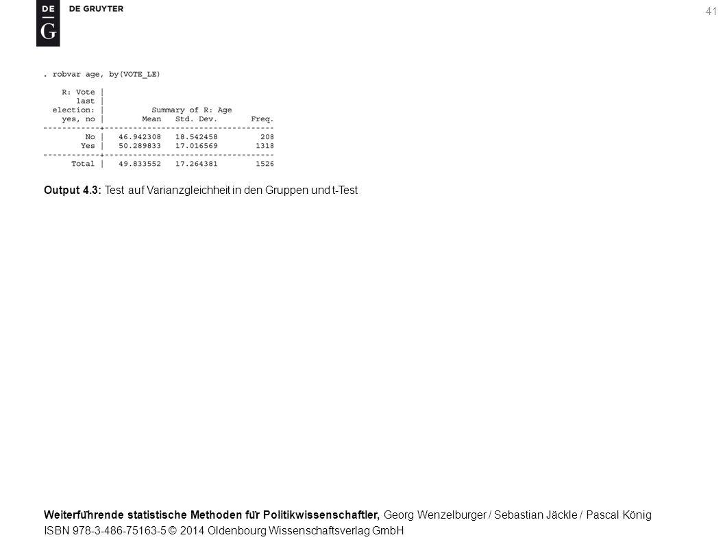 Weiterfu ̈ hrende statistische Methoden fu ̈ r Politikwissenschaftler, Georg Wenzelburger / Sebastian Jäckle / Pascal König ISBN 978-3-486-75163-5 © 2014 Oldenbourg Wissenschaftsverlag GmbH 41 Output 4.3: Test auf Varianzgleichheit in den Gruppen und t-Test