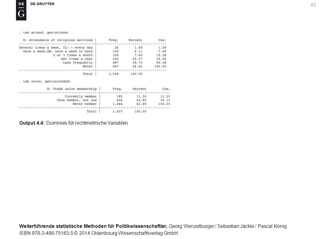 Weiterfu ̈ hrende statistische Methoden fu ̈ r Politikwissenschaftler, Georg Wenzelburger / Sebastian Jäckle / Pascal König ISBN 978-3-486-75163-5 © 2014 Oldenbourg Wissenschaftsverlag GmbH 43 Output 4.4: Dummies fu ̈ r nichtmetrische Variablen