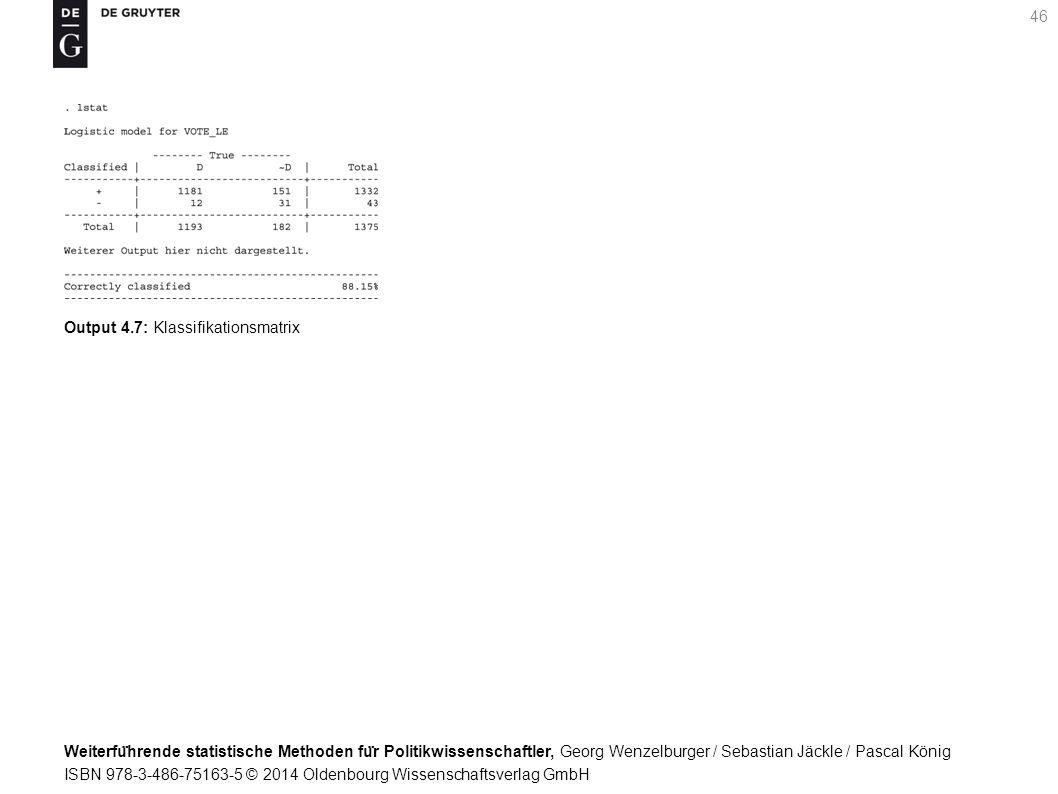 Weiterfu ̈ hrende statistische Methoden fu ̈ r Politikwissenschaftler, Georg Wenzelburger / Sebastian Jäckle / Pascal König ISBN 978-3-486-75163-5 © 2014 Oldenbourg Wissenschaftsverlag GmbH 46 Output 4.7: Klassifikationsmatrix