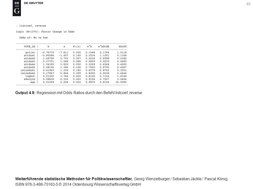Weiterfu ̈ hrende statistische Methoden fu ̈ r Politikwissenschaftler, Georg Wenzelburger / Sebastian Jäckle / Pascal König ISBN 978-3-486-75163-5 © 2014 Oldenbourg Wissenschaftsverlag GmbH 48 Output 4.9: Regression mit Odds Ratios durch den Befehl listcoef, reverse