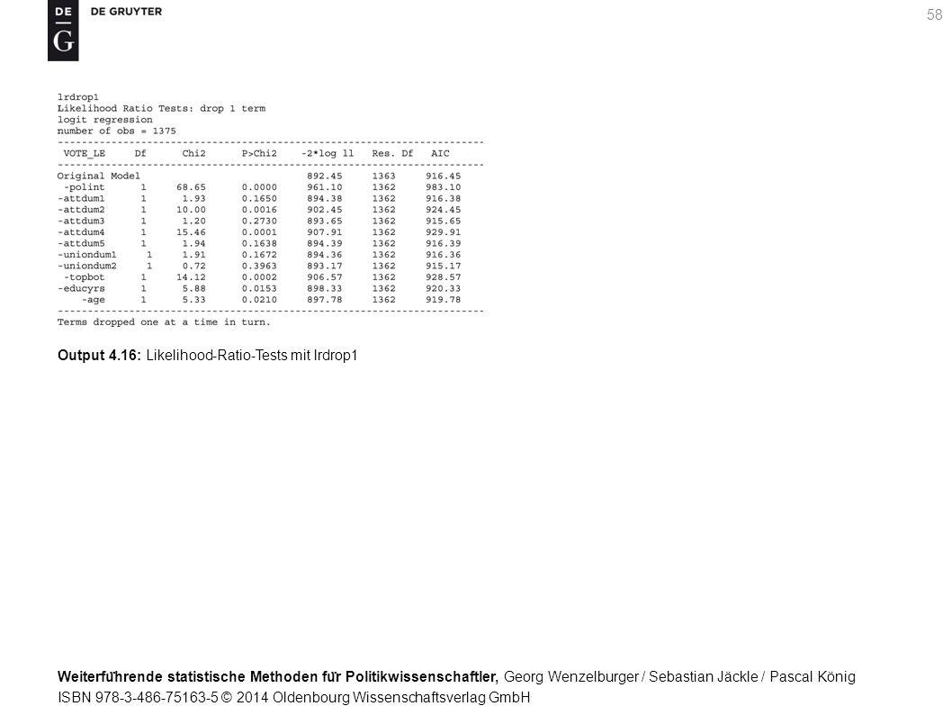 Weiterfu ̈ hrende statistische Methoden fu ̈ r Politikwissenschaftler, Georg Wenzelburger / Sebastian Jäckle / Pascal König ISBN 978-3-486-75163-5 © 2014 Oldenbourg Wissenschaftsverlag GmbH 58 Output 4.16: Likelihood-Ratio-Tests mit lrdrop1