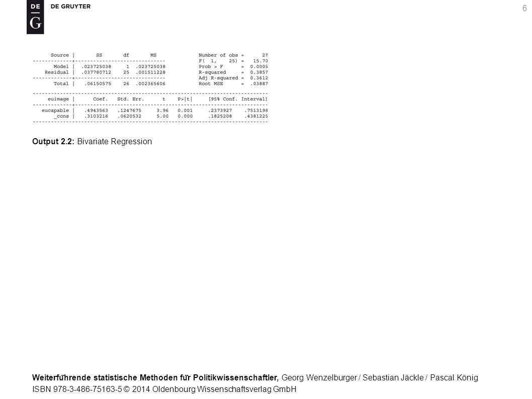 Weiterfu ̈ hrende statistische Methoden fu ̈ r Politikwissenschaftler, Georg Wenzelburger / Sebastian Jäckle / Pascal König ISBN 978-3-486-75163-5 © 2014 Oldenbourg Wissenschaftsverlag GmbH 6 Output 2.2: Bivariate Regression