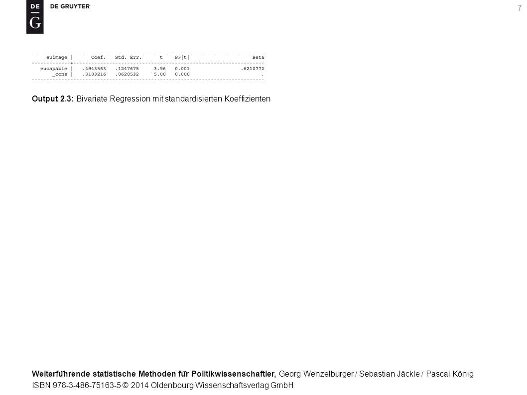 Weiterfu ̈ hrende statistische Methoden fu ̈ r Politikwissenschaftler, Georg Wenzelburger / Sebastian Jäckle / Pascal König ISBN 978-3-486-75163-5 © 2014 Oldenbourg Wissenschaftsverlag GmbH 7 Output 2.3: Bivariate Regression mit standardisierten Koeffizienten