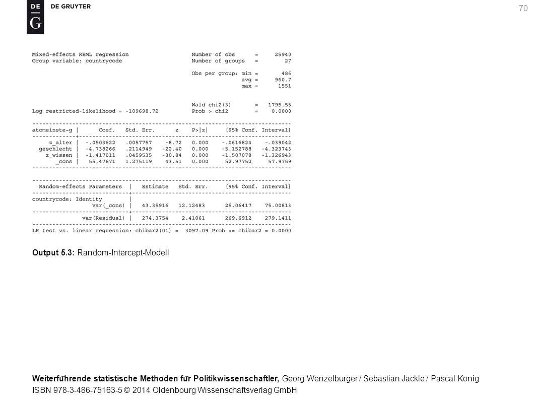 Weiterfu ̈ hrende statistische Methoden fu ̈ r Politikwissenschaftler, Georg Wenzelburger / Sebastian Jäckle / Pascal König ISBN 978-3-486-75163-5 © 2014 Oldenbourg Wissenschaftsverlag GmbH 70 Output 5.3: Random-Intercept-Modell