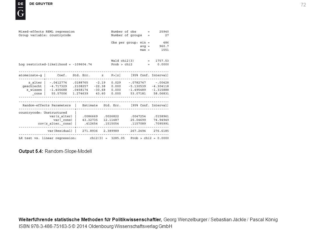Weiterfu ̈ hrende statistische Methoden fu ̈ r Politikwissenschaftler, Georg Wenzelburger / Sebastian Jäckle / Pascal König ISBN 978-3-486-75163-5 © 2014 Oldenbourg Wissenschaftsverlag GmbH 72 Output 5.4: Random-Slope-Modell