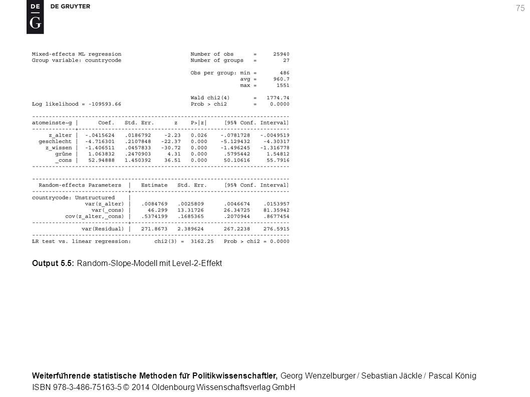 Weiterfu ̈ hrende statistische Methoden fu ̈ r Politikwissenschaftler, Georg Wenzelburger / Sebastian Jäckle / Pascal König ISBN 978-3-486-75163-5 © 2014 Oldenbourg Wissenschaftsverlag GmbH 75 Output 5.5: Random-Slope-Modell mit Level-2-Effekt