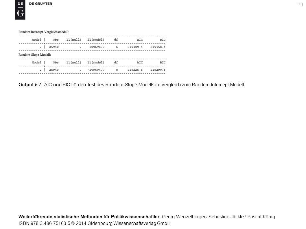 Weiterfu ̈ hrende statistische Methoden fu ̈ r Politikwissenschaftler, Georg Wenzelburger / Sebastian Jäckle / Pascal König ISBN 978-3-486-75163-5 © 2014 Oldenbourg Wissenschaftsverlag GmbH 79 Output 5.7: AIC und BIC fu ̈ r den Test des Random-Slope-Modells im Vergleich zum Random-Intercept-Modell