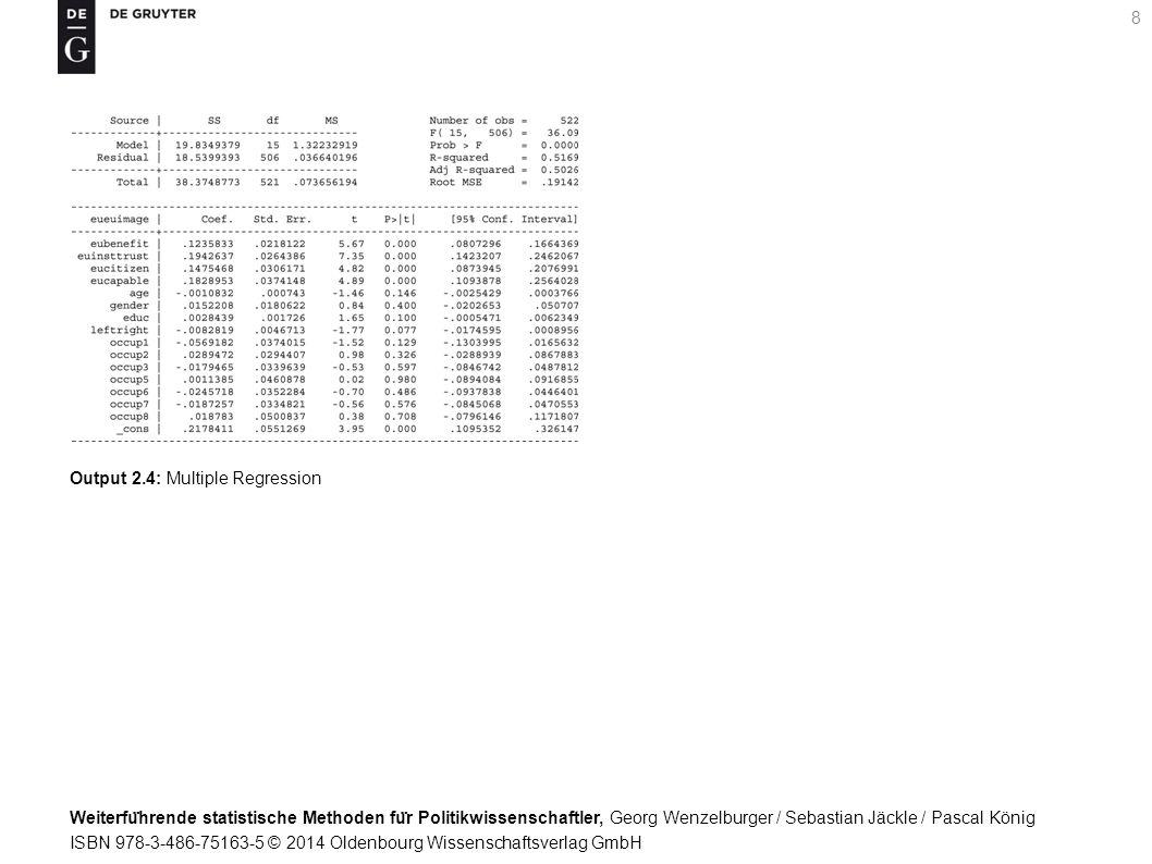 Weiterfu ̈ hrende statistische Methoden fu ̈ r Politikwissenschaftler, Georg Wenzelburger / Sebastian Jäckle / Pascal König ISBN 978-3-486-75163-5 © 2014 Oldenbourg Wissenschaftsverlag GmbH 8 Output 2.4: Multiple Regression