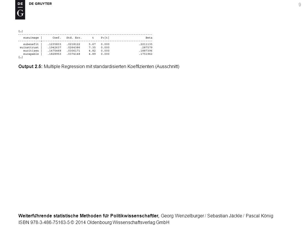 Weiterfu ̈ hrende statistische Methoden fu ̈ r Politikwissenschaftler, Georg Wenzelburger / Sebastian Jäckle / Pascal König ISBN 978-3-486-75163-5 © 2014 Oldenbourg Wissenschaftsverlag GmbH 9 Output 2.5: Multiple Regression mit standardisierten Koeffizienten (Ausschnitt)