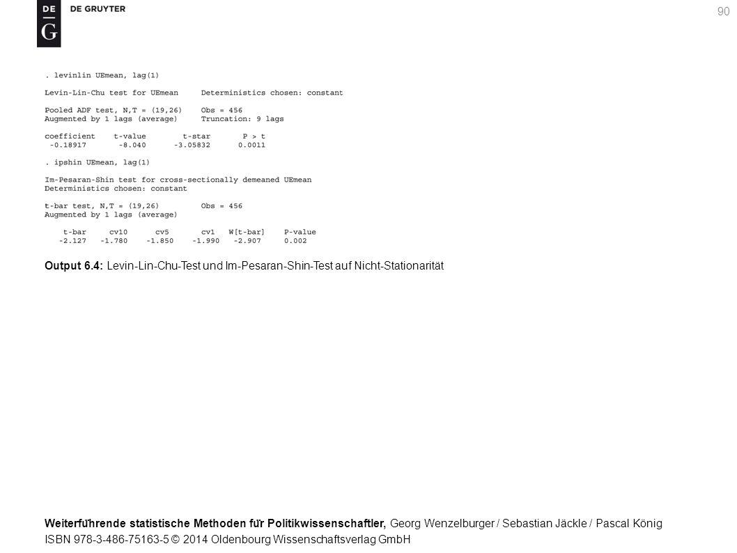 Weiterfu ̈ hrende statistische Methoden fu ̈ r Politikwissenschaftler, Georg Wenzelburger / Sebastian Jäckle / Pascal König ISBN 978-3-486-75163-5 © 2014 Oldenbourg Wissenschaftsverlag GmbH 90 Output 6.4: Levin-Lin-Chu-Test und Im-Pesaran-Shin-Test auf Nicht-Stationarität