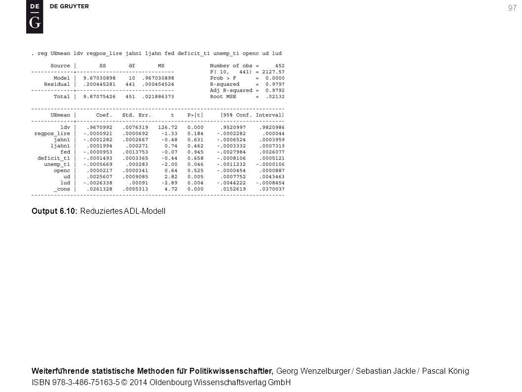 Weiterfu ̈ hrende statistische Methoden fu ̈ r Politikwissenschaftler, Georg Wenzelburger / Sebastian Jäckle / Pascal König ISBN 978-3-486-75163-5 © 2014 Oldenbourg Wissenschaftsverlag GmbH 97 Output 6.10: Reduziertes ADL-Modell