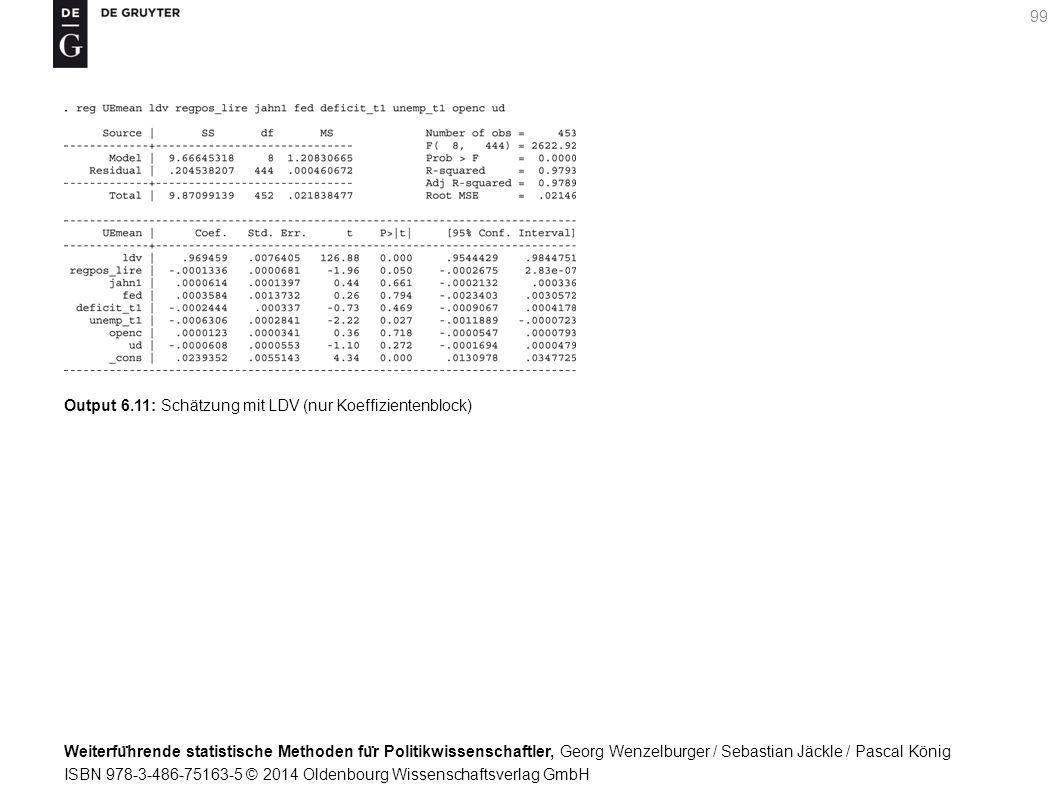 Weiterfu ̈ hrende statistische Methoden fu ̈ r Politikwissenschaftler, Georg Wenzelburger / Sebastian Jäckle / Pascal König ISBN 978-3-486-75163-5 © 2014 Oldenbourg Wissenschaftsverlag GmbH 99 Output 6.11: Schätzung mit LDV (nur Koeffizientenblock)